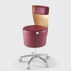 tabouret de travail en métal / en bois / pour salon d'esthétique / à roulettes