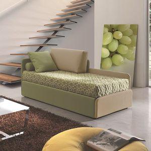 canapé contemporain / en tissu / 2 places / avec lit gigogne