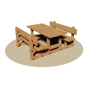ensemble table et bancs rustique / en bois / pour enfant / d'intérieur