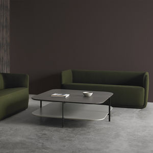 table basse contemporaine / en chêne / en MDF laqué / en cristal