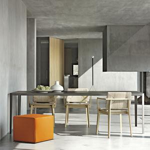 table à manger contemporaine / en verre / en acier / rectangulaire