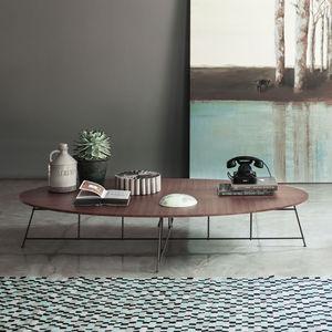 table basse contemporaine / en bois / en bois laqué mat / en acier