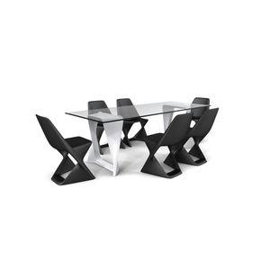 table contemporaine / en polymère / avec piètement en acier