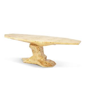 table à manger contemporaine / en bois / avec piètement en bois / octogonale
