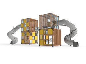 structure de jeu pour aire de jeux / pour établissement public / en bois / modulaire