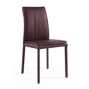 chaise contemporaine / tapissée / en cuir / marron