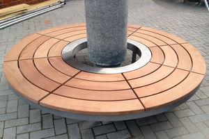 corset d'arbre en bois / en acier inoxydable / avec banc public intégré