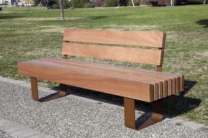 banc public / classique / en bois / avec dossier