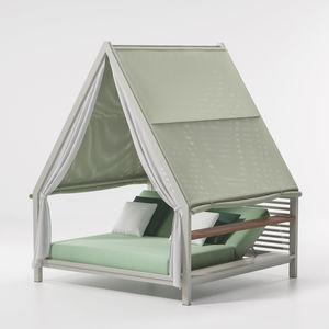 lit de jardin à baldaquin / double / contemporain / en tissu