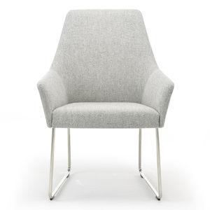chaise contemporaine / à dossier haut / tapissée / avec accoudoirs