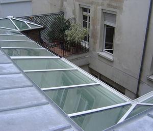 panneau en verre feuilleté / pour toit / gravé à l'acide / autonettoyant