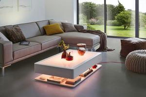 table basse contemporaine / en verre / rectangulaire / avec rangement