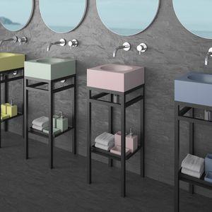 meuble vasque à poser / en acier peint / en VetroFreddo® / contemporain