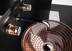 mélangeur pour vasque / mural / en cristal / de salle de bain