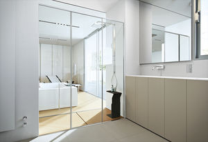 douche en verre / rectangulaire / avec porte coulissante