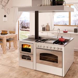 cuisinière à bois / avec hotte intégrée