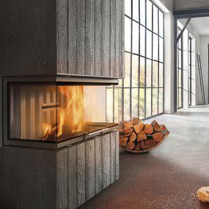 foyer fermé à bois / à 3 faces / en métal