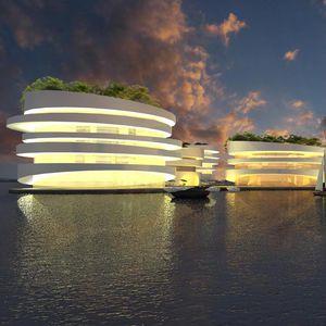 bâtiment flottant / en verre / pour hôtel / contemporain