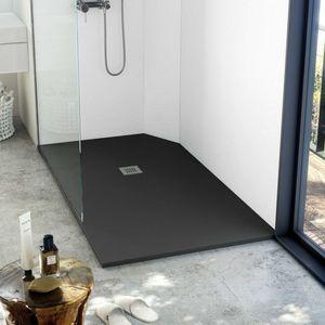 receveur de douche d'angle / à encastrer / en ardoise / avec canal d'écoulement