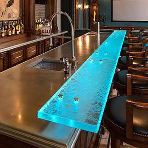 comptoir de bar / de cuisine / en verre / droit
