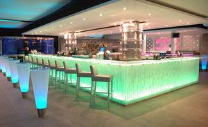 comptoir de bar / en verre / en L / lumineux