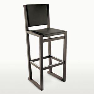 chaise de bar contemporaine / en chêne / en cuir / par Antonio Citterio
