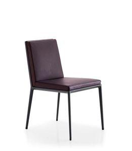 chaise contemporaine / tapissée / en cuir / aluminium
