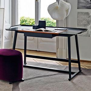bureau en bois / en cuir / contemporain / avec rangement intégré