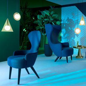 chaise de salle à manger contemporaine / tapissée / avec accoudoirs / en tissu