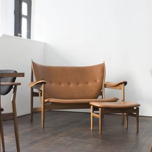 banquette design scandinave / en noyer / en teck / avec dossier