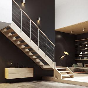 escalier droit / quart tournant / demi-tournant / structure en bois