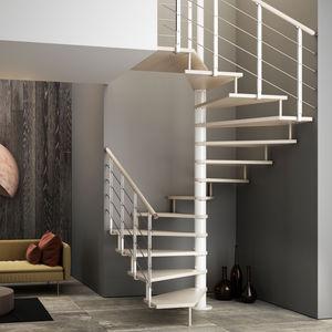 escalier en colimaçon carré / structure en métal / marche en bois / sans contremarche