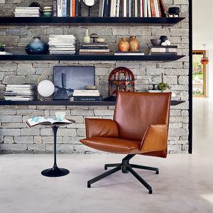 fauteuil contemporain / en tissu / en cuir / aluminium
