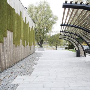 jardin vertical en végétaux vivants / en panneau modulaire / en mousse boule / d'extérieur