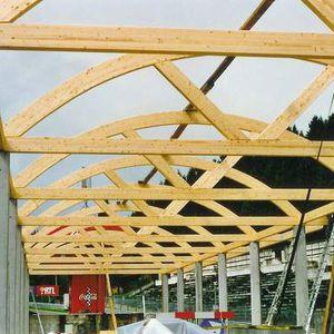 ferme de toit en bois / lamellé-collé / préfabriquée