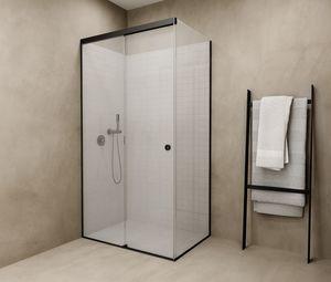 douche en verre / d'angle / avec porte coulissante / professionnelle