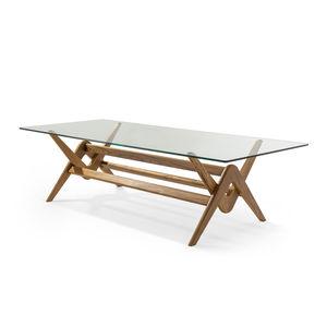 table contemporaine / en chêne / en verre / avec piètement en bois massif