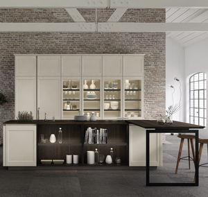 cuisine contemporaine / en bois / en verre / en aluminium laqué