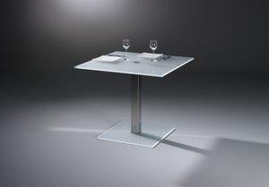 table bistrot contemporaine / en verre / en marbre / en acier inoxydable poli