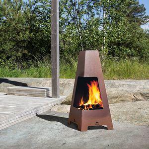 cheminée à bois / contemporaine / à foyer ouvert / au sol