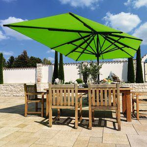 parasol en tissu acrylique / en aluminium / résistant au vent / à manivelle