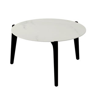 table d'appoint contemporaine / en teck / en aluminium / en céramique