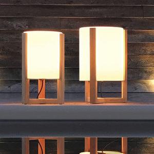 lampe de sol / contemporaine / en verre / en teck