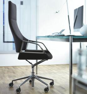 fauteuil de bureau contemporain / en tissu / en cuir / en métal chromé