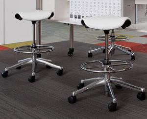 tabouret de bureau en tissu / professionnel / à roulettes / tapissé