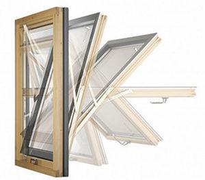 fenêtre à pivot / en bois / à triple vitrage / à coupure thermique