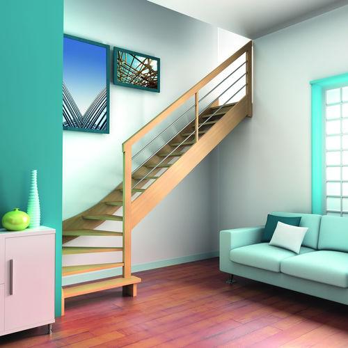 escalier quart tournant / droit / structure en bois / marche en bois