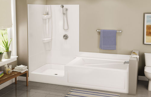 baignoire-douche encastrable / rectangulaire / en acrylique