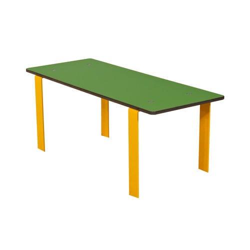 table contemporaine / en acier / avec piètement en acier / rectangulaire