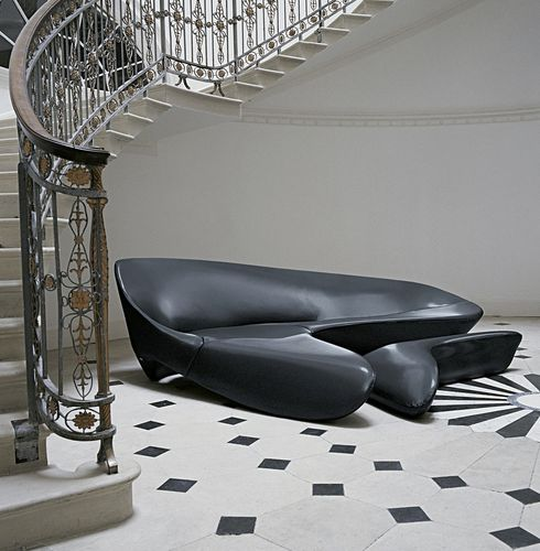 canapé d'angle / design organique / en tissu / par Zaha Hadid